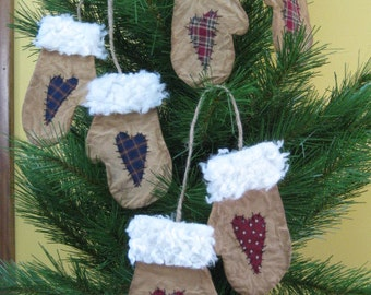 Primitive Mitten Ornaments - 3 Pair - Flat Christmas Mittens with Hearts - Muslin Grungy Fabric - Primitive Holiday Decor - Bowl Fillers