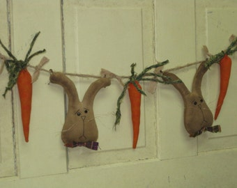 Primitive Easter Garland  - 2 Bunnies & 3 Carrots - Grungy Fabric - Spring Decor - Easter Decor - Primitive Rabbits and Carrots Garland