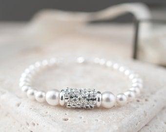 Pearl and Rhinestone Bracelet, White Pearl Bracelet, Bridal Jewellery, Wedding Accessories, Pearl Bridal Bracelet, Bride Bracelet