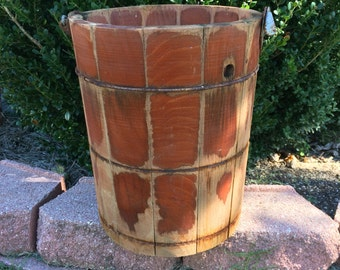 Skip The Icecream And Use This Vintage Wooden Bucket For Your Holiday Tree