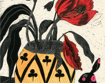 Art Print - Red Tulips and Red spotted Hares of Scraperboard Original