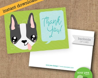 Doggy Thank You Card - Custom DIY Printable - Dog Party