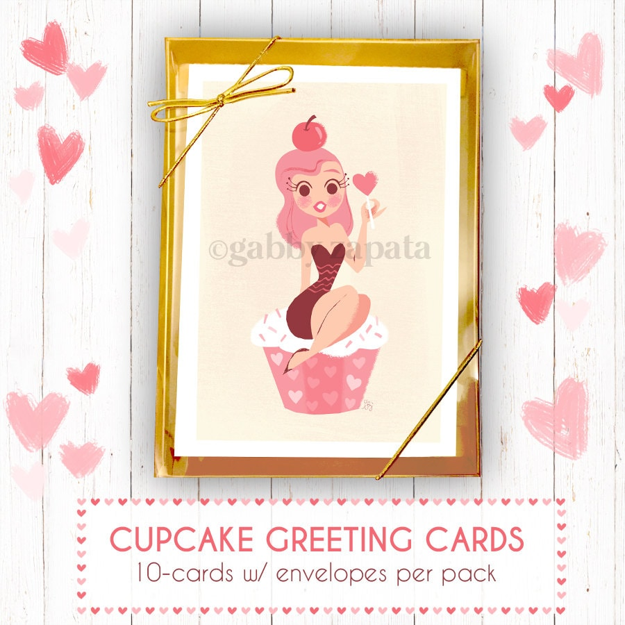5x7 PACK Of 10 Cupcake Greeting Cards W/envelopes By