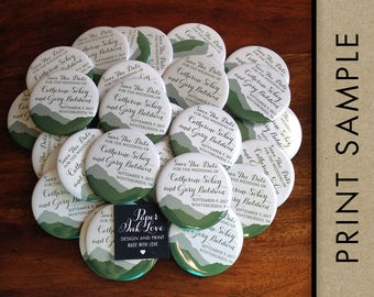 Mountain Save The Date Magnets for Wedding, Outdoor Wedding, Mountain Wedding, Forest Green with Script, 20 Pieces Per Order