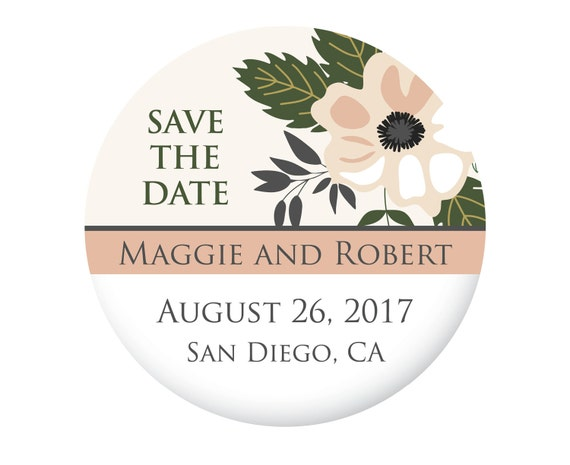 Save The Date Magnets for Wedding, Ivory and Blush Pink Flower, Simple, Modern and Beautiful, 20 Pieces Per Order