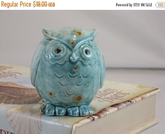 Clearance Green/Blue Teal Owl figurine collectible ceramics hand painted home decoration. The great horned owl.
