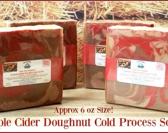 Apple Cider Doughnut Cold Process Natural LARGE Shea Soap. Vegan. Gluten Free. Gift, Favor, Holiday, Stocking Stuffer. Approx 6 oz Bar!