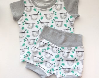 Gender Neutral, Sloth, Black, White, and Gray Two Piece Child Clothing Set