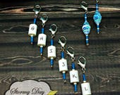 8 Crochet Stitch Markers, Hook Size Reminders , Stitch Marker Set, Blue & White Stitch Markers, Letter Stitch Markers, MM Stitch Markers