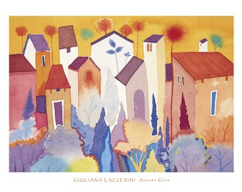 Autumn Glow - Tuscany - LARGE Contemporary Poster Print from an Original Watercolour Painting Signed in Pencil by artist Giuliana Lazzerini