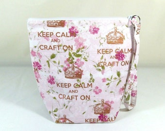 "Knitting Project Bag - Small Zipper Wedge Bag in n""Keep Calm and Craft On"" Floral Fabric with Pink Cotton Lining"