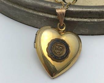Vintage Cornell Locket Necklace heart locket Cornell University college necklace
