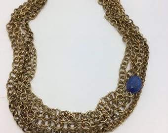 Layered Gold Chain Necklace with Blue Bead Vintage Choker vintage assemblage necklace