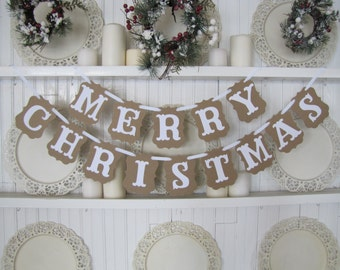 MERRY CHRISTMAS Banner, Farmhouse Christmas, Christmas Sign, Christmas Decoration, Merry Christmas Sign