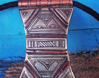 Tuareg Copper/Metal on Leather Necklace 'Gri-Gri