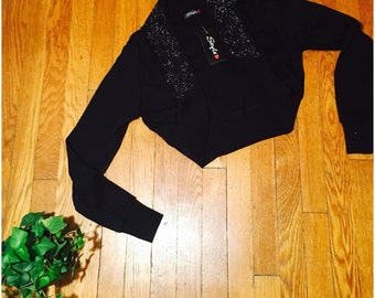 Inky Bolero Sweater with Beads and Glitter