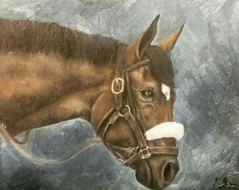 Racehorse Oil Painting- Giclee Print