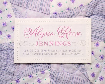 Personalized Quilt or Baby Blanket Label • Patch • Baby Birth Stats • Boy • Girl • Small Fabric Patch • Monogram • Christening • Baptismal