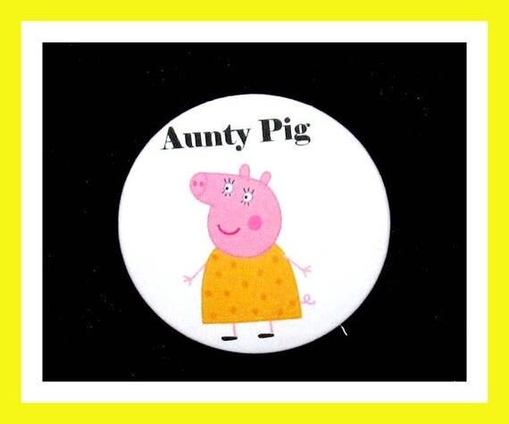 "Birthday Party Favor Button Pin,Aunty Pig,Boy Birthday Party,Girl Birthday Party,Pig Favors,Animal Theme Favors,Cartoon Pin,2.25"" Pin"