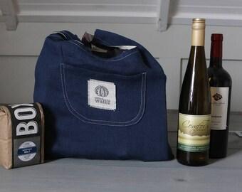 Reusable Grocery Bag, Reusable Shopping Bag, Linen Tote Bag, Eco-friendly, Linen Market Bag, Farmers Market Shopping, Navy Blue Linen