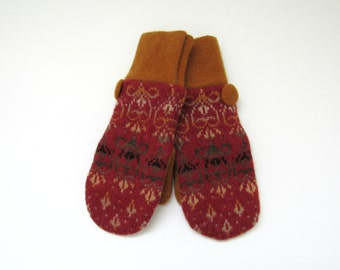Felted Wool Mittens Fleece Lined Fair Isle in Vermilion Marigold Beige Olive Green and Black Wool Sweater Mittens