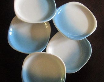 Syracuse China Small Blue White Plates / Dessert Snack Hor D'Oeuvres Appetizer Dishes Set of 5