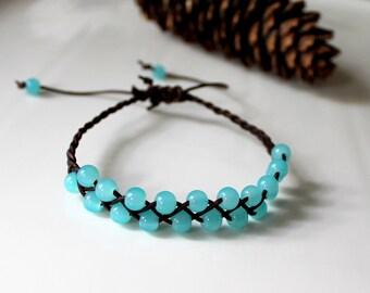 Bright Blue Glass Braided Leather Bracelet, Friendship Bracelet, Boho, Stackable