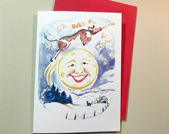 I'm over the moon for you, Pun valentines, Ready to Ship 5x7 greeting card
