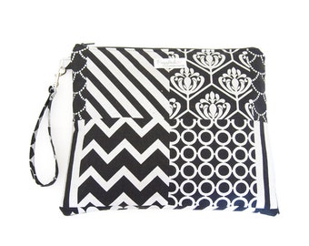 EX-LARGE Wristlet Wet Bag / Clutch Bag - Echino (Black and Silver)