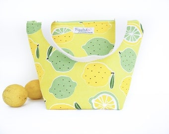 Insulated Tote-Style Lunch Bag with Waterproof Lining - Lemon Lime (Choose Your Size!)