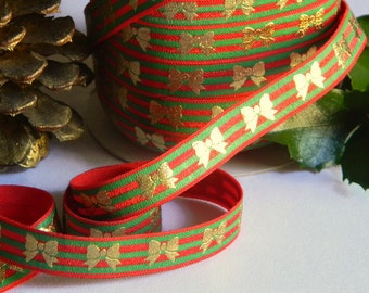 "Green & Red FOE 5 yards of 5/8"" Fold Over Elastic with Gold Foil Bows Christmas Stripe Print for Holiday Headband Connectors Gift Wrapping"