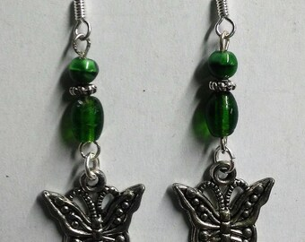 Ayla's Bead Creations Green Butterfly dangle earrings
