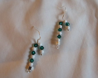 Green Candy Cane Earrings on Silver Ear Wires, Earrings, Candy Cane, Green