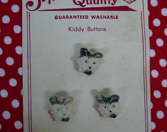 """Vintage """"Kiddy Buttons"""" on Superior Quality Card, Dog, Scottie, Puppy, 3 Heads Realistic"""