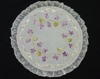 "Victorian Doily, Silk Society Handwork Purple Violets Lace Trim 12 1/2"" Pretty"