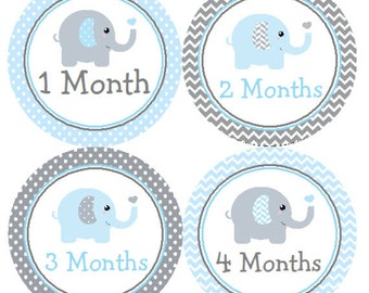 Baby Month Stickers Blue & Gray Elephant Monthly Belly Labels from 1 to 12 Months in Blue and Grey Chevron and Polka Dots for Baby Boy
