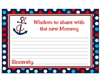 Baby Shower Advice Card Nautical Polka Dot With Anchor Words of Wisdom Cards Instant Download