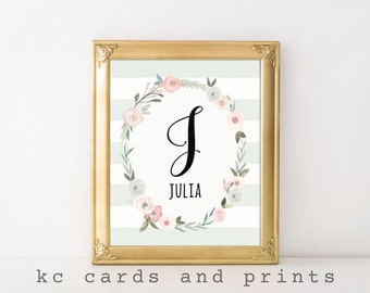 Julia Name Art Print - J Nursery Monogram - Nursery Name Art Printable - Baby Name - Nursery Printable - Digital Download