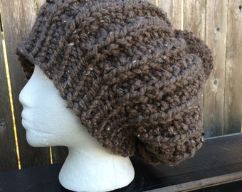 Womens Knit Hat, Winter Hat, Pom-pom Hat, Slouchy Hat, Chunky Knit Hat, Womens Gift
