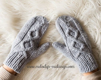 Knit Mittens Pattern - Knit Child Mittens Pattern - Adult Knit Mittens Pattern - Adult Knit Cable Mittens Pattern