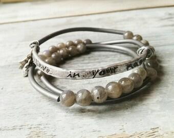 Bangle, gemstone bangle, labradorite bracelet, hand stamped bracelet, boho bracelet, men bracelet, women bracelet