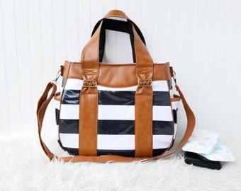 WATERPROOF Striped Evelyn Diaper Bag