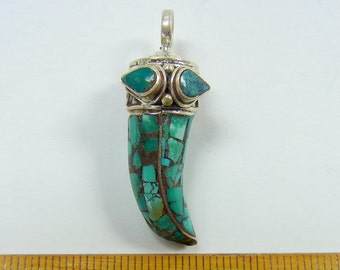 33x10x10mm Tibetan style horn tusk pendant,natural turquoise inlays, sterling silver, one piece, (TBT-3)