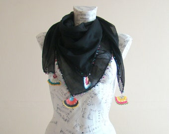 Summer scarf square cotton scarf cotton bandana head scarf black scarf pareo wrap beach pareo cotton pareo summer scarfs crochet edgings