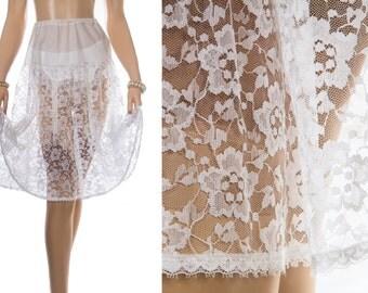 Superb 1960's vintage 'Stretta' silky soft white nylon and delicate sexy transparent floral design lace detail petticoat crinoline - 3812