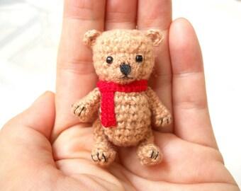 Mini Brown Bear 2 Inches - Crochet Miniature Crocheted Bear Stuffed Animals - Made To Order