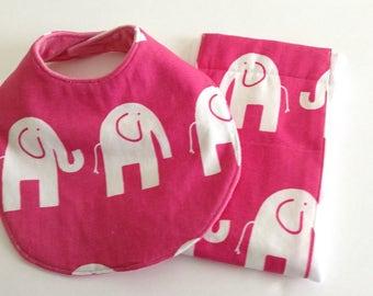 Pink Elephant Print Bib and  Burp Cloth Set