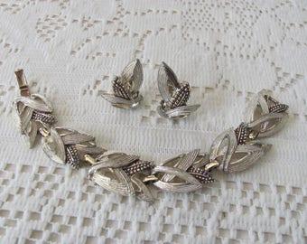 Vintage Marboux Bracelet Set Clip Earrings Designer Signed