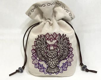 MYSTIC OWL - Embroidered Drawstring Dice Bag, Rune Pouch, Tarot Card Bag made of faux suede - LARP Costume Accessory