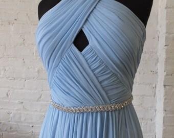 Sky blue Grecian styled chiffony dress with lovely rhinestone attached belt sz 6